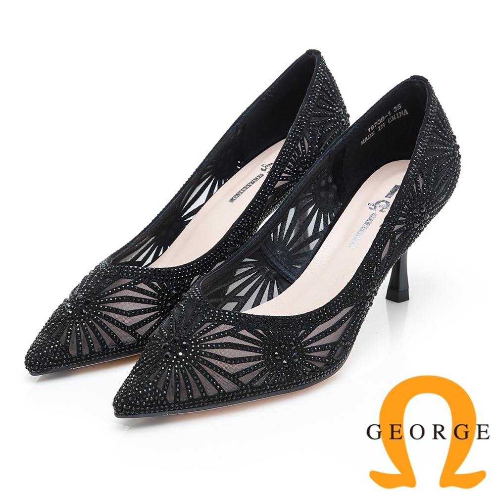 GEORGE 喬治皮鞋 閃爍水鑽迷人簍空尖頭高跟鞋-黑色