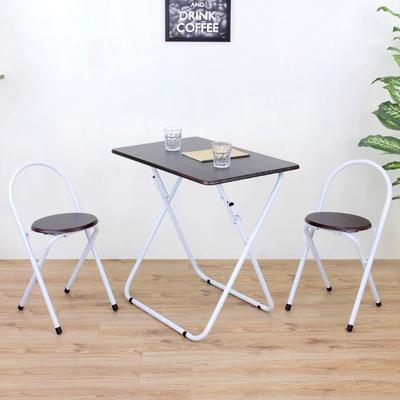 頂堅 [1桌2椅]長方形折疊桌椅組/洽談桌椅組/餐桌椅組-二色