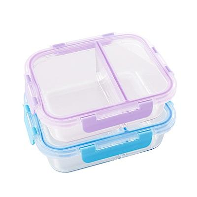 美國Winox 安玻分隔玻璃保鮮盒長形2格860ML*4入
