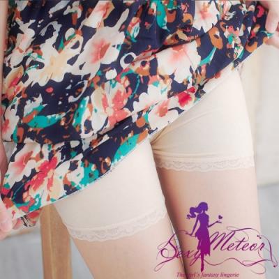 內搭 大尺碼 棉質蕾絲邊內搭褲安全褲(蕾絲杏) SexyMeteor