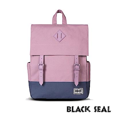 福利品 BLACK SEAL 聯名8848系列- 撞色拼接雙皮帶釦後背包- 撞色粉紫