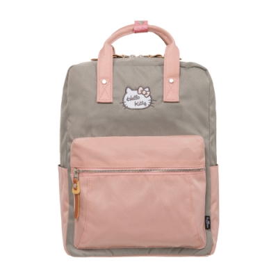 【Hello Kitty】凱蒂學院-方型後背包-灰粉 FPKT0F001GYP