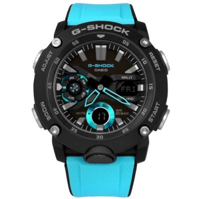 G-SHOCK CASIO 卡西歐 強悍風格 雙顯 計時 防水 運動衝浪手錶 黑藍色 GA-2000-1A2 46mm