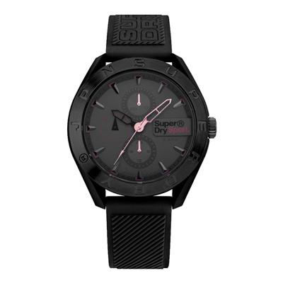 Superdry極度乾燥  潮流黑時尚三眼腕錶-黑(SYG244EB)/43mm