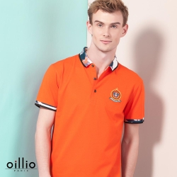 oillio歐洲貴族 超柔抗皺透氣POLO衫 舒適修身款式 橘色