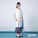 gozo 幾何框線印花網紗拼接洋裝(白色)
