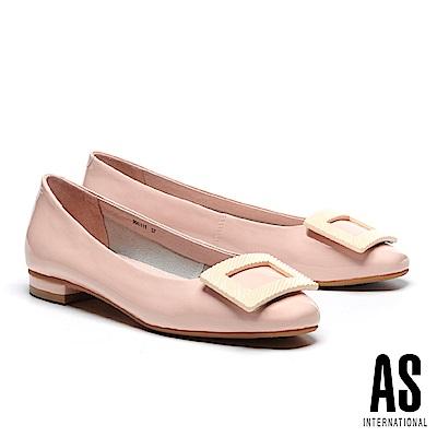 低跟鞋 AS 質感烤漆方釦全真皮超軟方頭低跟鞋-粉