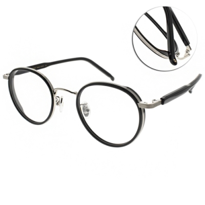 NINE ACCORD光學眼鏡  韓系率性圓框款/黑-槍 #PLACO CIARA C2
