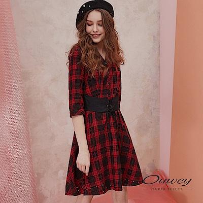 OUWEY歐薇 英倫格紋剪接腰封造型襯衫洋裝(紅)