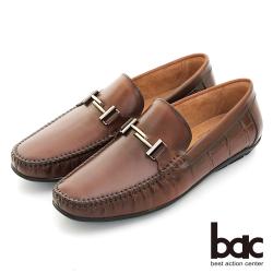 【bac】時尚樂活 金屬裝飾舒適牛皮帆船鞋-咖啡