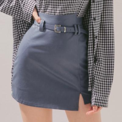 AIR SPACE 高腰不對稱造型皮褲裙(附腰帶)(藍)