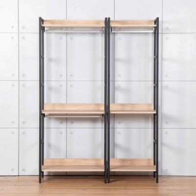 D&T德泰傢俱 格萊斯原切木工業風4.6尺雙吊+單吊多功能衣櫃-140x44x196cm