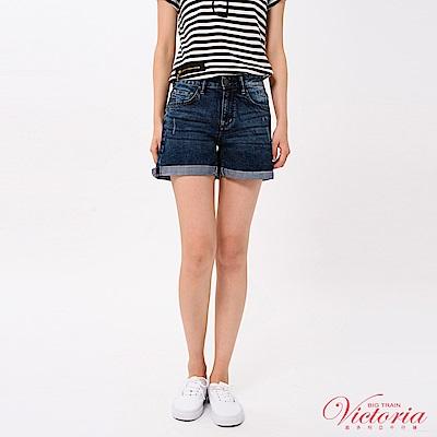 Victoria COOLMAX中高腰反褶短褲-女-中藍