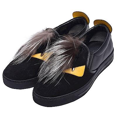 FENDI 經典BUGS系列皮革拼接毛怪造型鉚釘飾邊休閒鞋(男-黑)