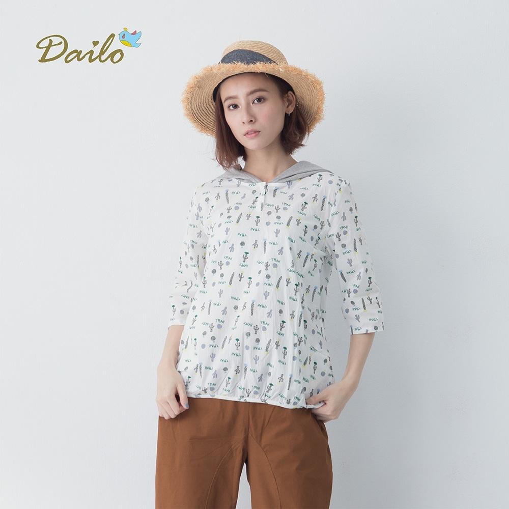 【Dailo】仙人掌印花連帽-襯衫(三色)