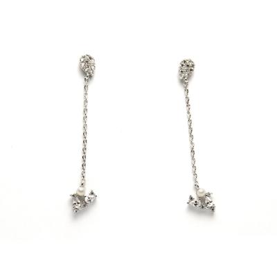 STORY故事銀飾-氣質時尚耳環-Dew珍珠晶鋯耳環
