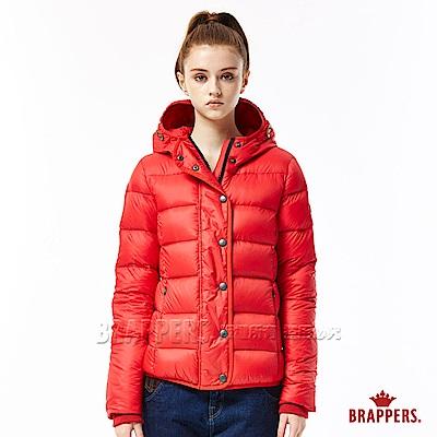 BRAPPERS 女款 滾邊連帽羽絨外套-紅