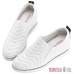 Robinlo & Co.波紋感沖孔牛皮內增高休閒鞋 白色