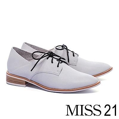 低跟鞋 MISS 21 復古紳士兩穿後踩式綁帶全真皮牛津低跟鞋-白
