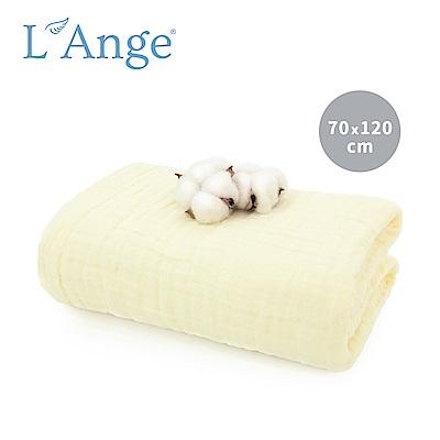 L Ange 棉之境 6層純棉紗布浴巾/蓋毯 70x120cm-黃色