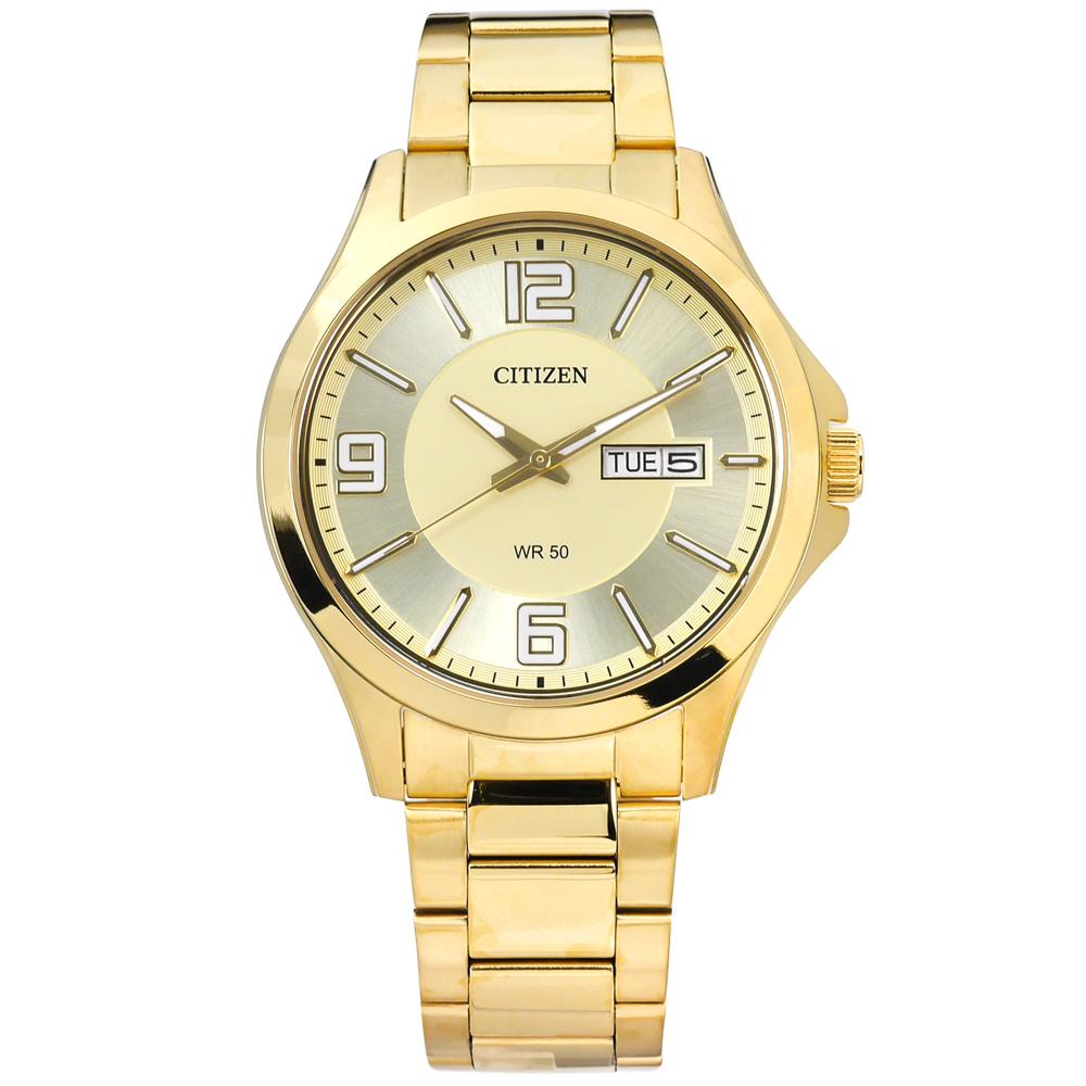 CITIZEN 時刻潮流日期星期不鏽鋼手錶-鍍金/41mm