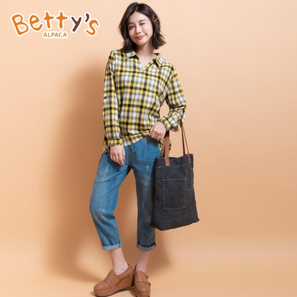 betty's貝蒂思 男友風設計感牛仔長褲(牛仔藍)