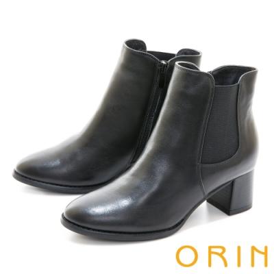 ORIN 經典儁永素面真皮粗跟 女 短靴 黑色