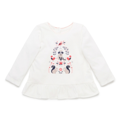 澳洲Purebaby有機棉女童印花長T-1~4歲