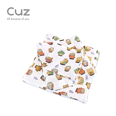 【Cuz】貓頭鷹打個盹(紗布巾)30cm