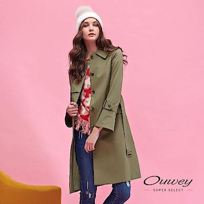 OUWEY歐薇 都會率性百搭長版風衣外套(綠)