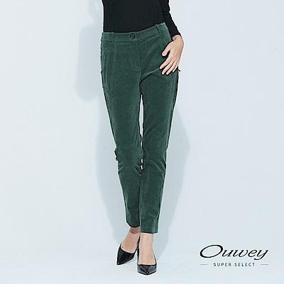 OUWEY歐薇 簡約羅紋百搭窄管絨褲(藍/綠)
