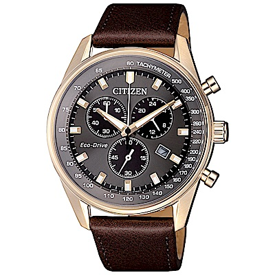 CITIZEN 星辰光動能真皮三眼計時手錶(AT2393-17H)-灰X金框/40mm
