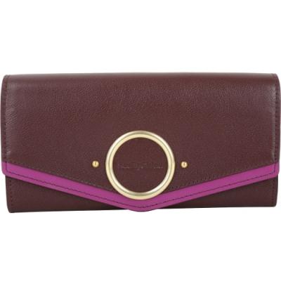 SEE BY CHLOE AURA 小牛皮翻蓋式長夾(紫紅色)