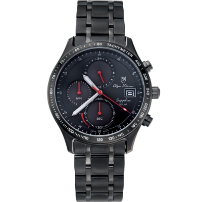 Olym Pianus 奧柏表 耀眼太陽能計時腕錶-黑 89052-3MB