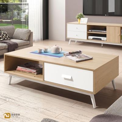 D&T 德泰傢俱 Asa北歐風-白+木紋拼色4尺茶几 寬120X深60X高41公分