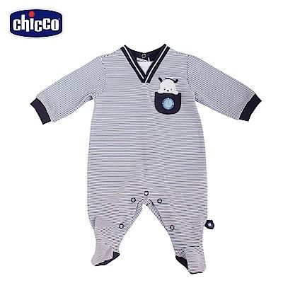 chicco-潛水艇-條紋後開長袖兔裝