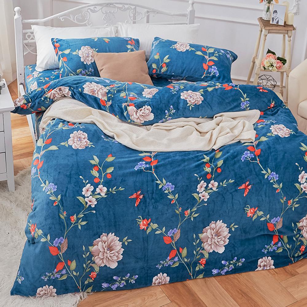 戀家小舖 / 法蘭絨  單人床包兩用毯組  蔚藍花吟  保暖抗寒