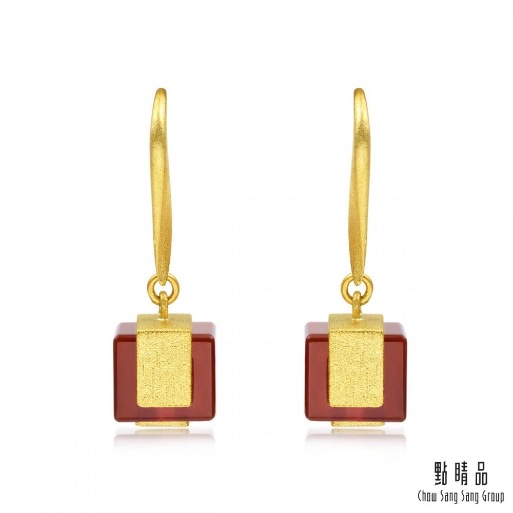 點睛品g collection 方形紅瑪瑙 黃金耳環