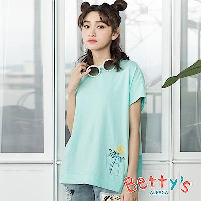 betty's貝蒂思 前印透明花瓶後刺繡T-shirt(淺綠)