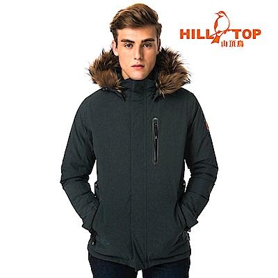 【hilltop山頂鳥】男款WINDSTOPPER防小雨羽絨短大衣F22MX6黑