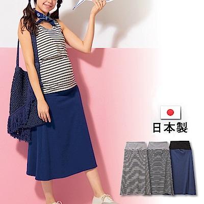 日本雜誌款-日製 棉質休閒孕婦長裙(深藍/條紋深藍/條紋碳灰)