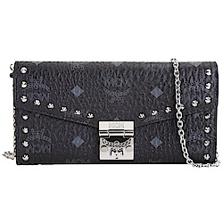 MCM Patricia Visetos 品牌塗層帆布銀鍊鉚釘長夾/晚宴包(黑色)
