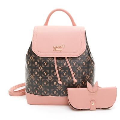 PLAYBOY-  後背包可斜背 Coral Garden珊瑚花園-愛麗絲系列 -粉紅色