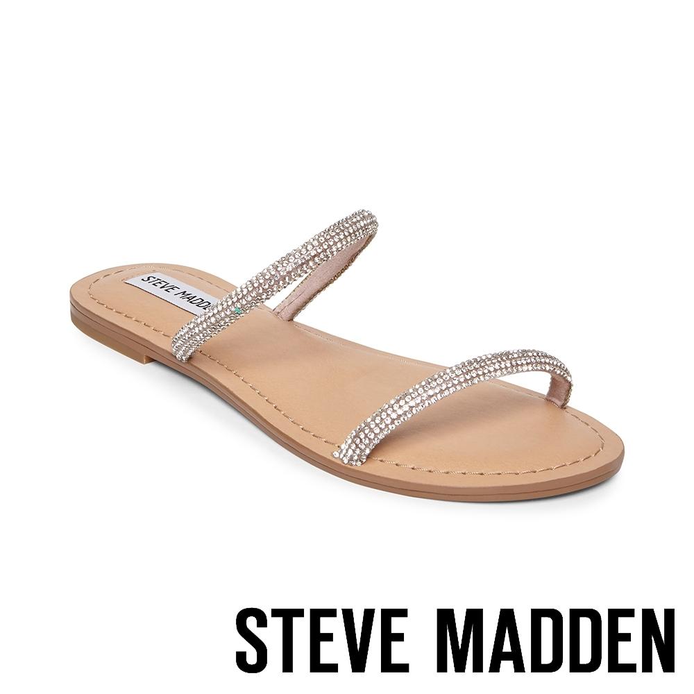 STEVE MADDEN-TUVA 簡約閃光 水鑽雙細帶平底拖鞋-銀色