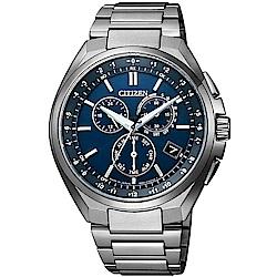 CITIZEN 星辰GENT S光動能鈦金屬三眼計時錶-藍CB5040-80L