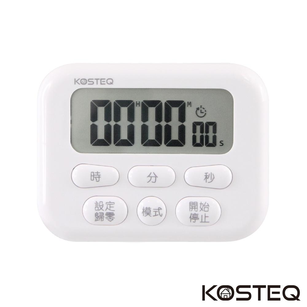 KOSTEQ 24小時功能薄型大螢幕電子計時器-內附時鐘功能-白色-