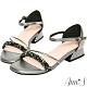 Ann'S對妳著迷鑽石糖版本-軟金屬V型顯瘦低跟方頭涼鞋-黑 product thumbnail 1