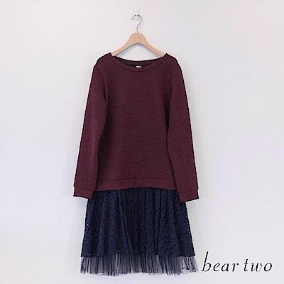beartwo 緹花蕾絲紗裙假兩件式洋裝(二色)