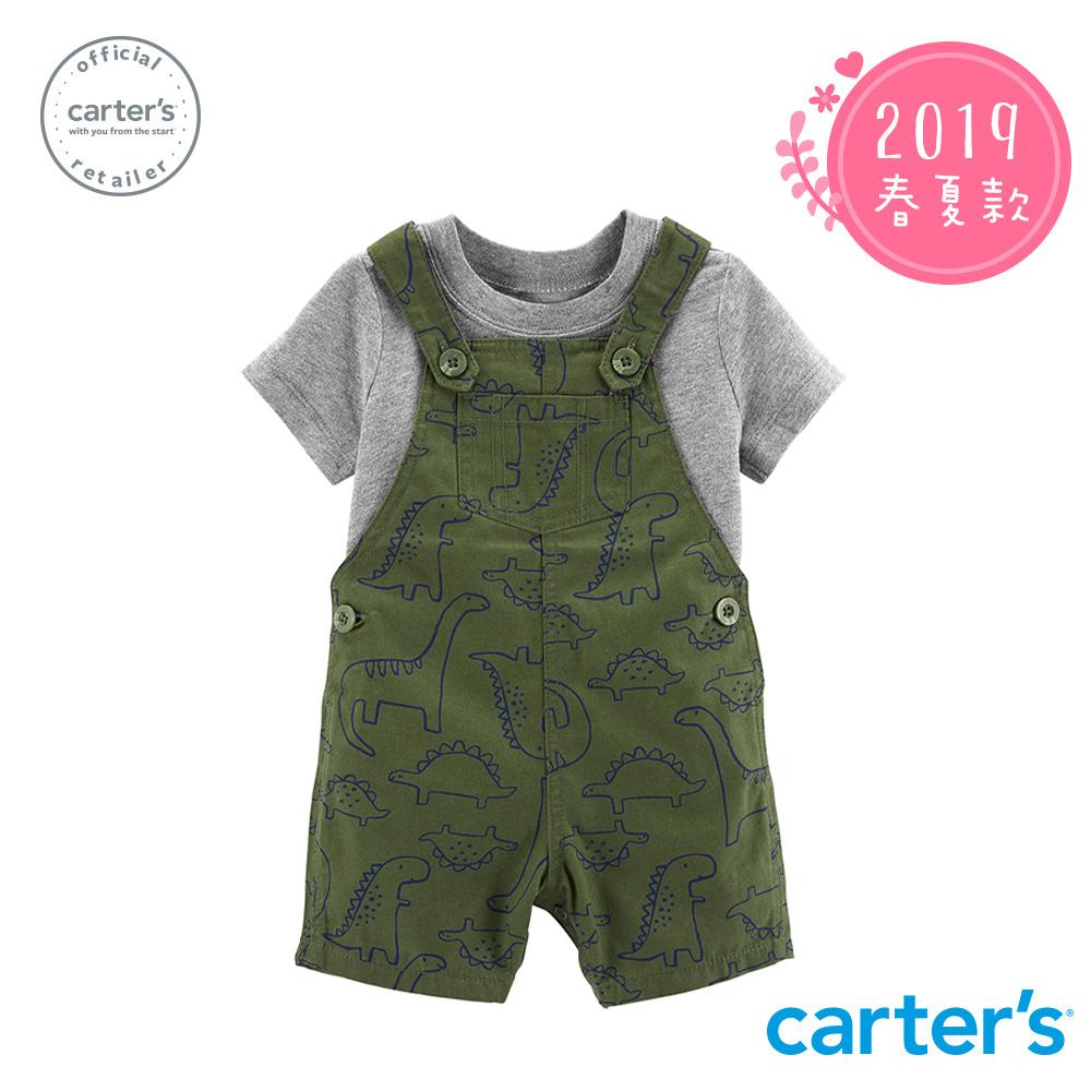 Carter's台灣總代理 恐龍印圖2件組吊帶褲