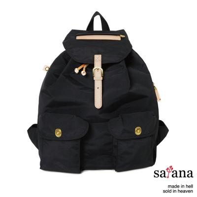 satana - 休閒束口後背包 - 黑色